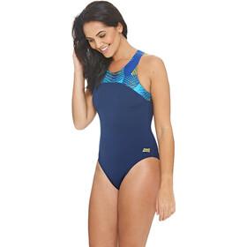 Zoggs Spiro Traje de Baño Cremallera Espalda Mujer, navy/multi